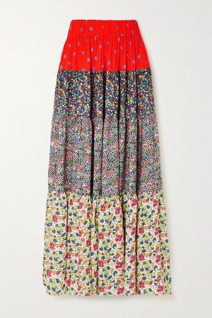 Bibi Patchwork Floral-print Poplin Midi Skirt - Red