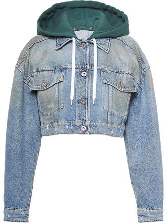Miu Miu Cropped Embroidered Denim Jacket Ss20