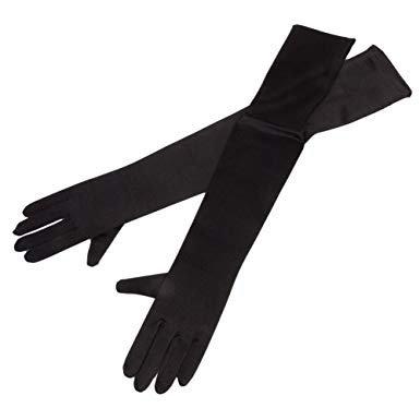 black gloves elbow length