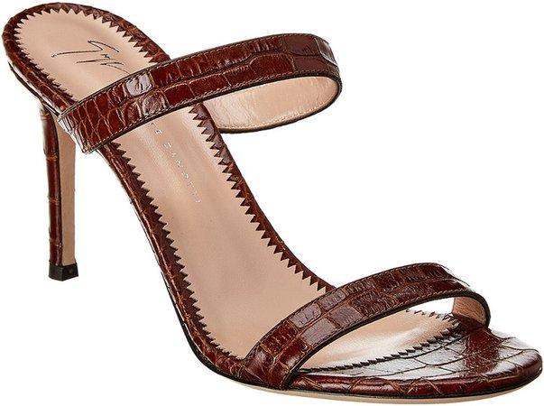 Croc-Embossed Leather Sandal