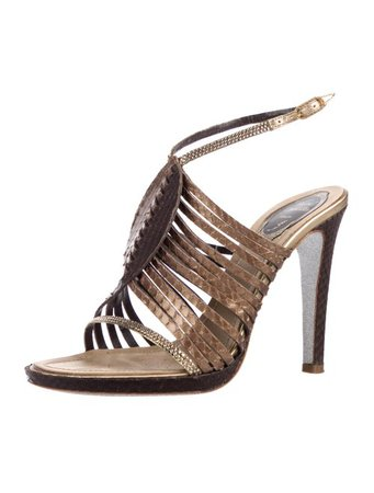 René Caovilla Snakeskin Cage Sandals - Shoes - REC23585   The RealReal