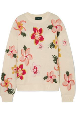 Alanui | Oversized embroidered floral-intarsia cashmere sweater | NET-A-PORTER.COM