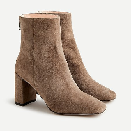 J.Crew: Suede Block-heel Ankle Boots For Women cream