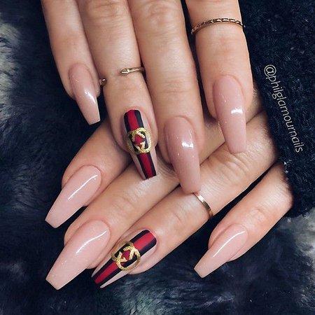 gucci acrylic nails designs nude