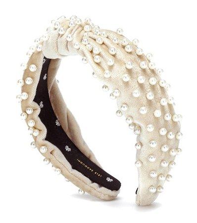 Velvet faux pearl headband