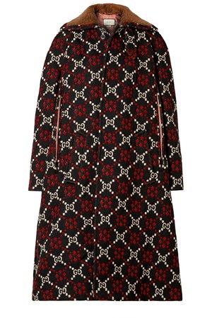 Gucci   Faux shearling-trimmed wool-jacquard coat   NET-A-PORTER.COM