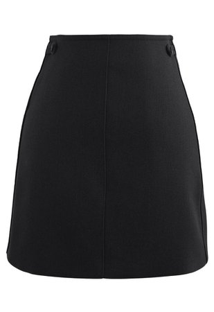 Double Buttons Bud Mini Skirt in Black - Retro, Indie and Unique Fashion