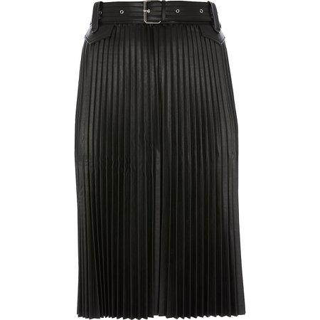 Plus black faux leather pleated midi skirt - Midi Skirts - Skirts - women
