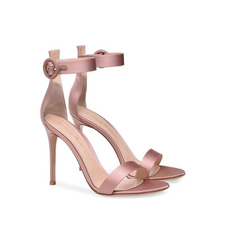 Gianvito Rossi Pale Pink Satin Heels