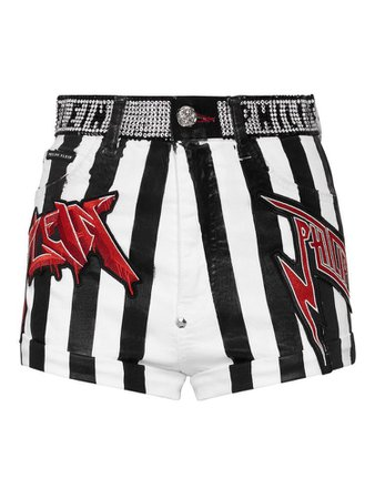 Black and white vertical stripe crystal band shorts