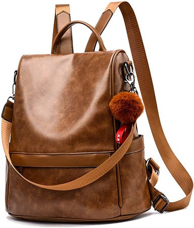 Amazon.com: Women Backpack Purse PU Leather Anti-theft Casual Shoulder Bag Fashion Ladies Satchel Bags(Tan): Shoes