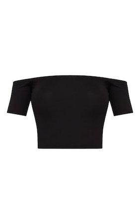 Basic Black Bardot Crop Top