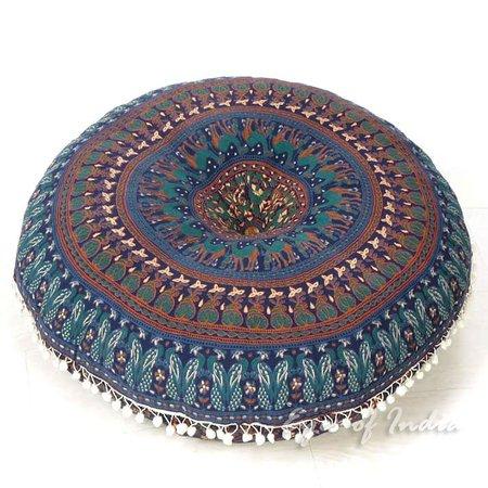 "Blue Bohemian Gypsy Round Floor Meditation Pillow Decorative Seating Boho Hippie Mandala Cushion Cover - 32"" | Mandala Floor Pillows | Eyes of India"