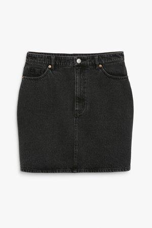 Denim mini skirt - Black - Mini skirts - Monki WW
