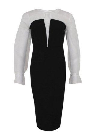 Plunge Front Organza Ruffle Midi Dress | boohoo black