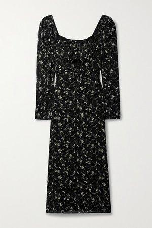 Wrenn Cutout Ruched Floral-print Georgette Midi Dress - Black