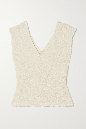 Net Sustain Poppy Smocked Tencel Modal Tank - Ecru