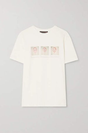 International Women's Day Printed Cotton-jersey T-shirt - Off-white