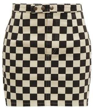 Checkerboard Print Denim Mini Skirt - Womens - Black White