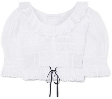 Tiana Cropped Broderie Anglaise Cotton Top - White