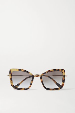 Tortoiseshell Oversized cat-eye tortoiseshell acetate and gold-tone sunglasses | Miu Miu | NET-A-PORTER