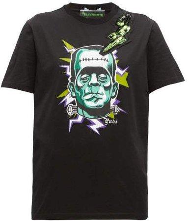 Frankenstein Print Crystal Embellished T Shirt - Womens - Black Multi