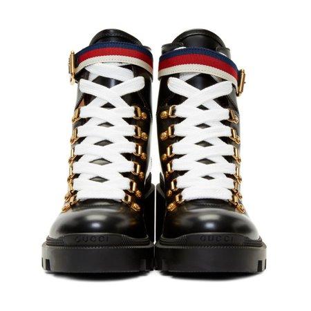 Gucci 'Sylvie' Black Leather Combat Boots - SSENSE