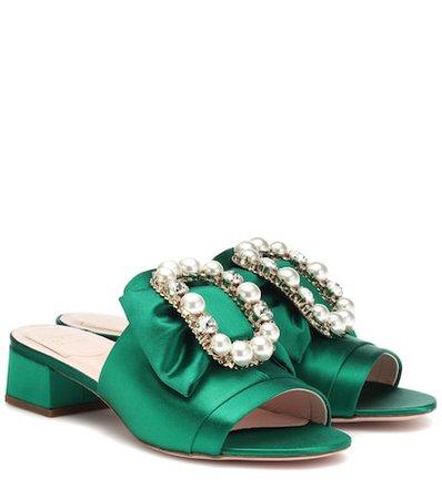 Embellished satin sandals