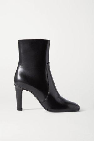 Black Blu leather ankle boots | SAINT LAURENT | NET-A-PORTER
