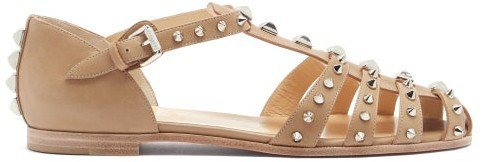 Loubiclou Studded Caged Leather Sandals - Beige