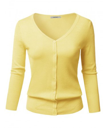 Women's Solid Button Down V-Neck 3/4 Sleeves Knit Cardigan | 07 Yellow