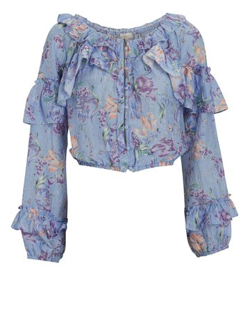 LoveShackFancy Ruffled Floral Silk-Cotton Blouse | INTERMIX®