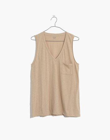 Women's Whisper Cotton V-Neck Pocket Tank | Madewell