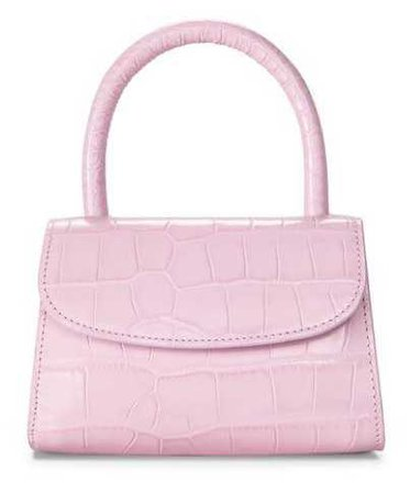 BY FAR Bubblegum Pink Croc Mini Handbag