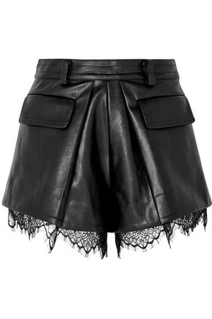 Self-Portrait   Lace-trimmed faux leather shorts   NET-A-PORTER.COM