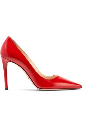 Prada | 100 glossed textured-leather pumps | NET-A-PORTER.COM