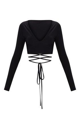 Black Slinky Long Sleeve Tie Waist Crop Top | PrettyLittleThing USA