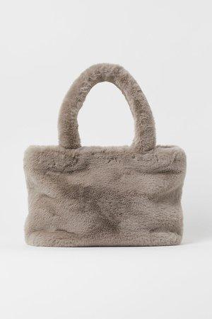Faux Fur Shopper - Gray
