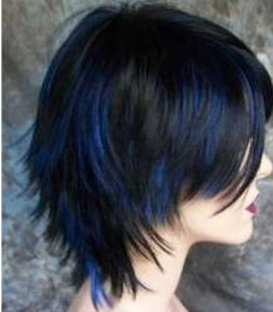 choppy hair with blue highlights