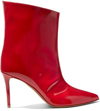 Alex Patent-leather Ankle Boots - Red