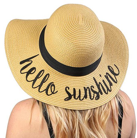H-2017-HS Funky Junque Embroidered Sun Hat - Hello Sunshine at Amazon Women's Clothing store