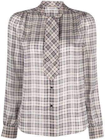 Saint Laurent pussy-bow Checked Blouse - Farfetch