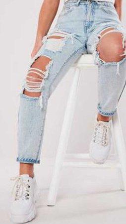 ripped capris girlfriend jeans light blue