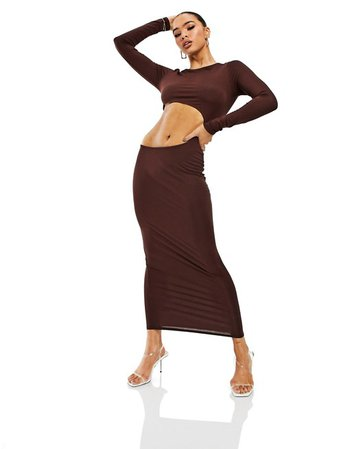 ASYOU cut out maxi dress with long sleeves in chocolate | ASOS