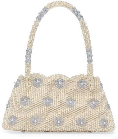 Astrid Faux Pearl And Crystal Embellished Bag - Womens - Cream Multi