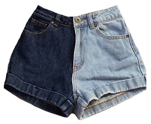 two toned denim shorts