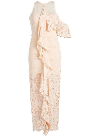 Floor Length Dress with Silk Chiffon and Lace Gr. US 4