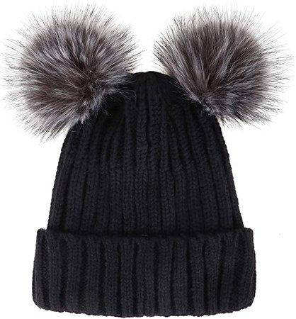 Simplicity Womens Winter Cable Knit Faux Fur Pompom Beanie Hat Black Hat Coffee Ball at Amazon Women's Clothing store