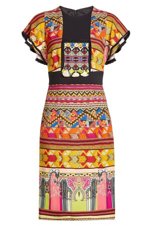 Printed Dress with Tassels and Fringed Trims Gr. IT 48