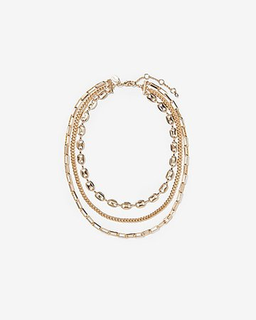 Three Row Multi-chain Toggle Necklace | Express
